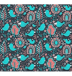 Colorful floral seamless pattern with trees and vector