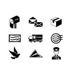 Post service black icon set vector image