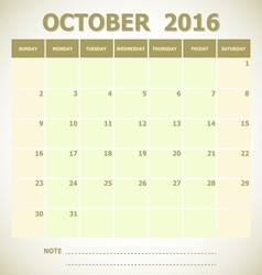 Calendar october 2016 week starts sunday vector