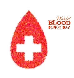 World blood donor day concept with red drop and vector