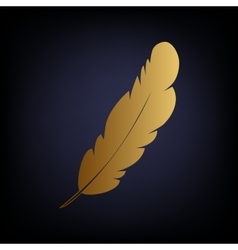 Feather sign golden style icon vector