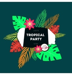 Poster template of tropical party vector image