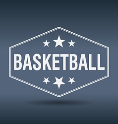 Basketball hexagonal white vintage retro style vector