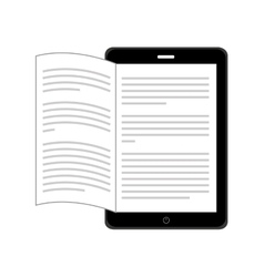 Electronic book in tablet isolated icon design vector