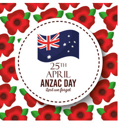 Anzac day lest we forget badge australian flag red vector
