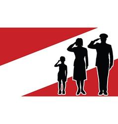 Austria soldier family salute vector