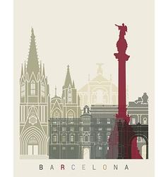 Barcelona skyline poster vector
