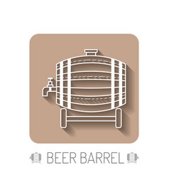 beer wooden barrel with a tap white linear flat vector image vector image