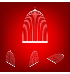 Bird cage set isometric effect vector