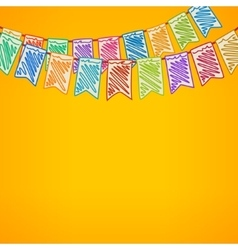 Bunting flags on yellow background vector