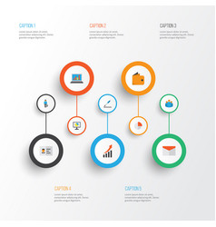 Business flat icons set collection of diagram vector