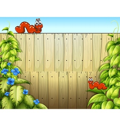 Cartoon Caterpillars on fence vector image vector image