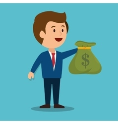 cartoon man money earnings design isolated vector image