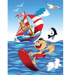 Cartoon watersports design vector