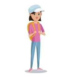 Cute girl tourist pink tshirt backpack cap vector