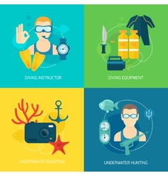 Diving icons composition vector image vector image