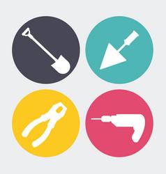 Drill spatula shovel pliers icon repair concept vector