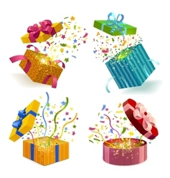Gift boxes and confetti set vector