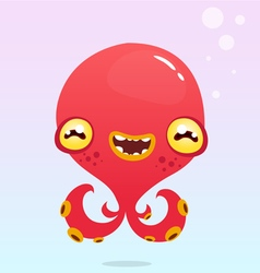 Happy cartoon octopus vector