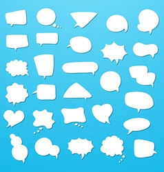 Icon set of empty speech bubbles think clouds vector