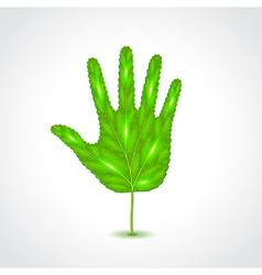 Leaf like human hand palm vector