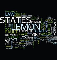 Lemon law details text background word cloud vector