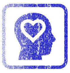 Love in head framed textured icon vector