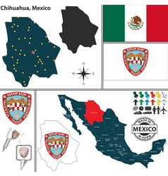Map of Chihuahua vector image vector image