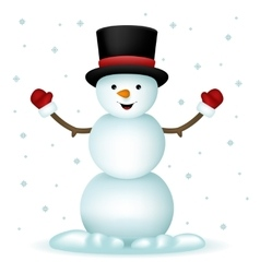 Realistic Snowman Happy Cartoon New Year Toy vector image vector image