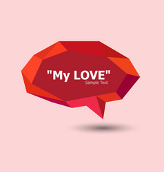 Red polygonal geometric speech bubble vector