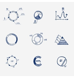 Set of circle chart diagram graph pie hand draw vector image