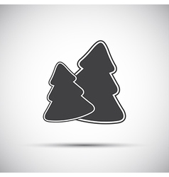 Simple grey icon of two christmas tree vector image vector image