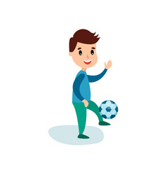smiling little boy character kicking soccer ball vector image
