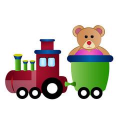 train toy with a teddy bear vector image