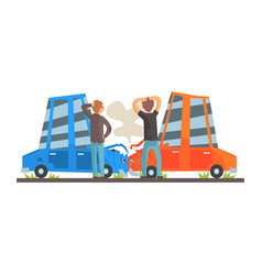 Two people crashing their cars car accident vector