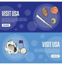 Visit usa touristic web banners vector