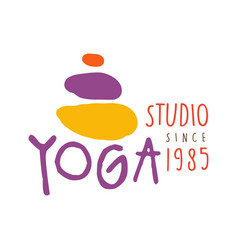 Yoga studio logo colorful hand drawn vector