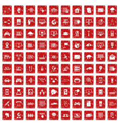 100 network icons set grunge red vector image vector image