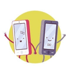 Happy smartphone pair vector