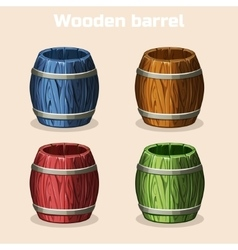 Colored cartoon wooden barrels game elements vector
