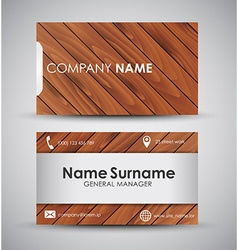 Design of the business card with wooden texture vector