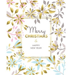Merry christmas and new year gold flower design vector