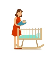Young Mom Putting Newborn Baby To Bed Happy vector image