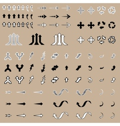 Arrow stickers set isolated vector