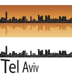 Tel aviv skyline in orange background vector