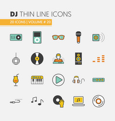 Dj music party linear thin icons set vector