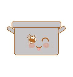 kawaii nice happy cooking pot vector image