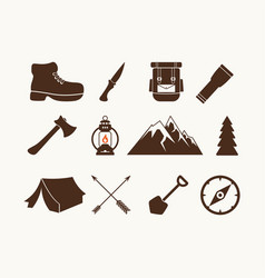 Set of camp elements vector