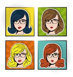 set women sexy beautiful pop art concept vector image