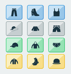 Garment icons set collection of pants sweatshirt vector